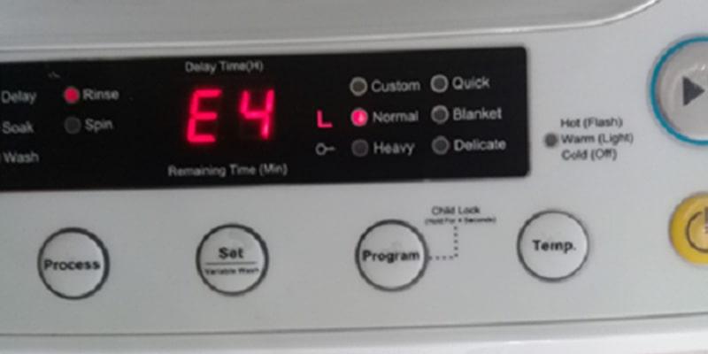 مقدار آب بیش از استاندارد و مشاهده ارور E4 در لباسشویی زیرووات